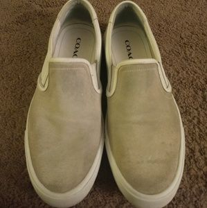 Coach Men's Slip-ons Size 11 White Light Gray